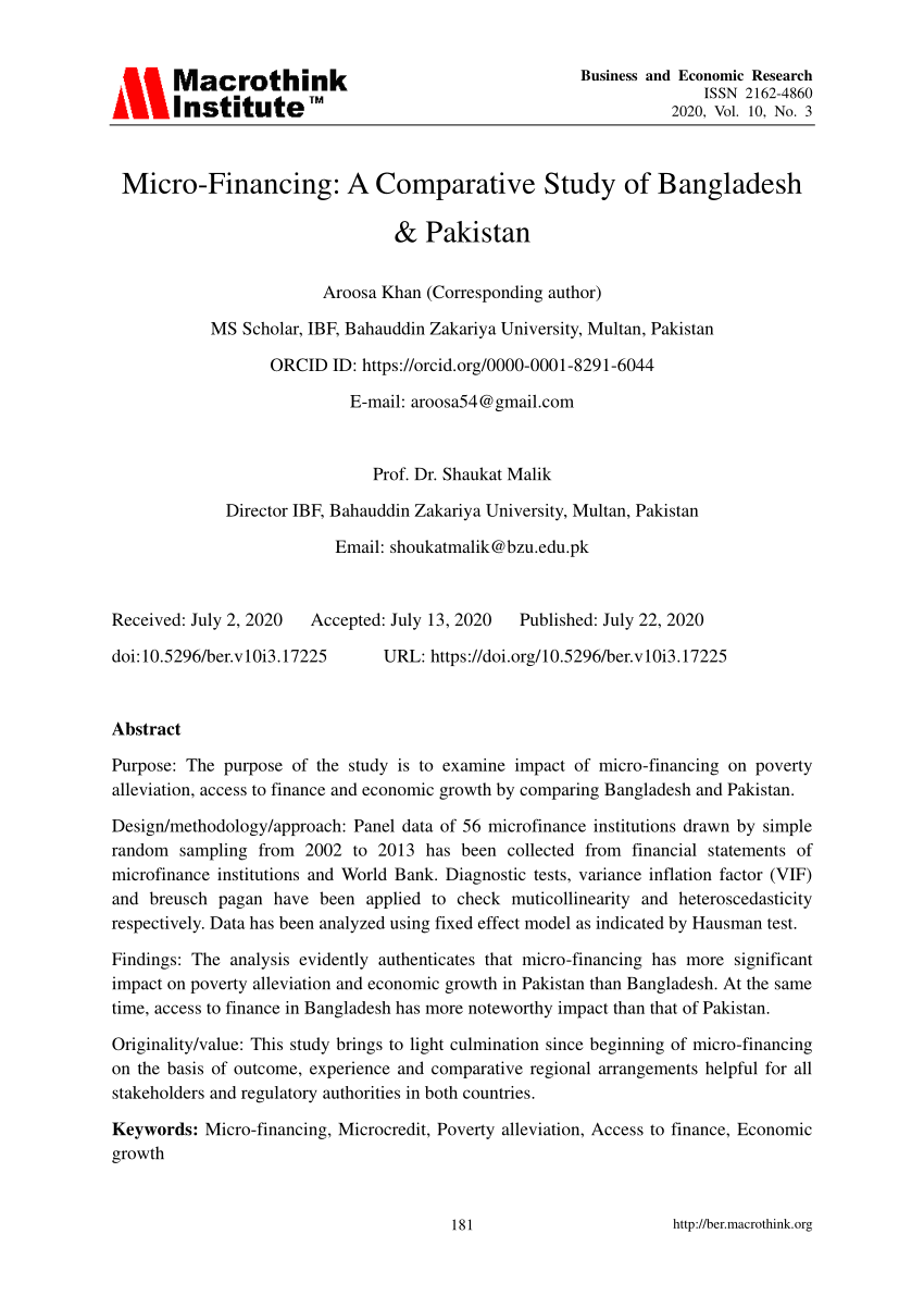 (PDF) Micro-Financing: A Comparative Study of Bangladesh & Pakistan